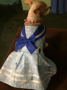 Absolutely Cute HAndmade Small Dog Light Blue Ahoy dress