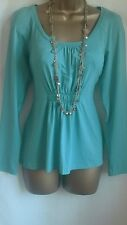 NEW EX BRAVISSIMO PEPPERBERRY GREEN BLUE AQUA SHIRT EMPIRE A LINE TUNIC TOP