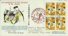 Japan Okinawa Ryukyus:1968-3-15 Vaccination Fdc Block of 4 to Los Angeles, Cali