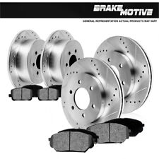 Escalade Silverado Yukon Front And Rear Drill Slot Brake Rotors + Metallic Pads