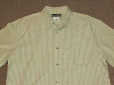 Columbia Mens Khaki Gray Brown & Navy Blue Plaid Button Down Front Shirt L large