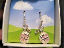 tone with Rhinestone ~ New in Box Enamel Easter Egg Dangle Earrings in Silver