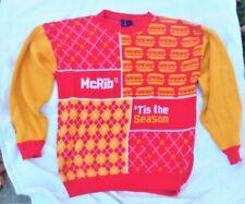Extremely Rare Vintage 1970's McDonalds McRib Tis The Season Christmas Sweater L