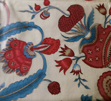 Vintage French Indienne Floral Cotton Fabric ~ Yellow Blue Magenta Pink Red