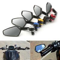 """7/8 """"Specchietti retrovisori per manubrio posteriore per motocicletta Nero"""