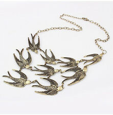 Women Gold Metal Bird Pendant Crystal Choker Chunky Chian Statement Bib Necklace