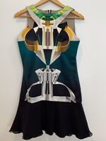 MARY KATRANTZOU Dress PERFUME Bottle Black Green White Gold Structured 10 12