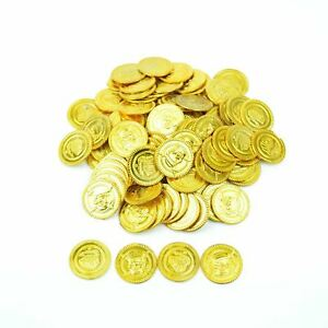 100 Plastic Gold Coins Pirate Treasure Chest Play Money Birthday Party Favors