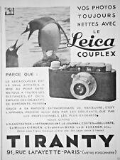 PUBLICITÉ PRESSE 1932 APPAREIL PHOTO LEICA COUPLEX TIRANTY AUTOMATIQUE- PINGOUIN