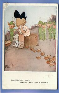 VINTAGE 1923 POSTCARD ARTIST SIGNED MABEL LUCIE ATTWELL GIRL CRYING FAIRIES DOG