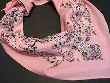 Impresionante 80s De Colección Rosa/Negro 100% algodón a mano con Tachas Estrás Bandana Bufanda Usa
