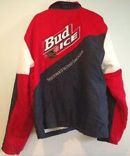 Vtg 90s BUD ICE NHL KING LOUIE Red White Blue Coolest Jacket Mens Nylon Hockey