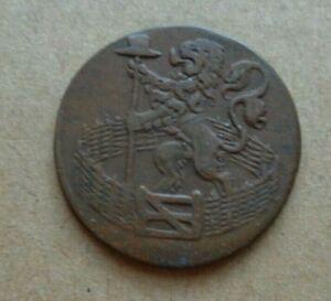 1780 Dutch Republic Holland Netherlands Duit Lion Copper Coin KM# 80