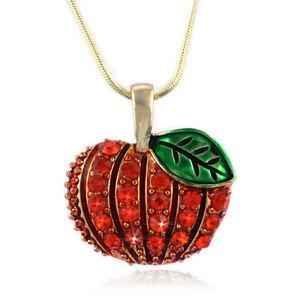 Halloween Thanksgiving Fall Autumn Harvest Pumpkin Pendant Necklace Jewelry