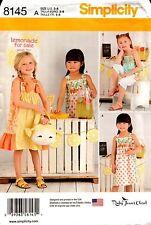 Simplicity Sewing Pattern 8145 Child's Dresses, Top, Capri, Pants, Purse 3-8 NEW