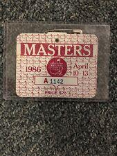 1986 Masters Badge Jack Nicklaus Champion Augusta National Ticket