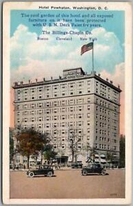 "1932 Washington DC Postcard HOTEL POWHATAN ""USN Deck Paint"" Advertising on Back"