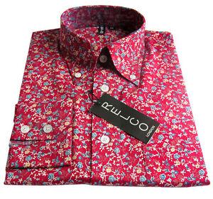 Red Floral Pattern Relco Men's Shirt 100% Cotton Vintage Design Sizes S - 3XL