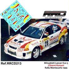 DECAL/CALCA 1/43; Mitsubishi Lancer Evo 5; Climent-Romani; Rally Montecarlo 1999