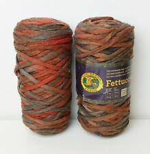 New listing Lion Brand Fettuccini Yarn Dark Brown Shades T Shirt Lot of 2 Skeins 55 yds Each