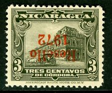 """Nicaragua 1927 Cathedral Provisional 3¢ Olive Gray w/Red """"1972"""" Inverted V297 ⭐"""