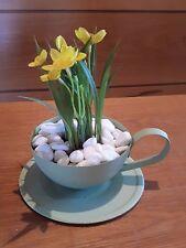 Pflanztasse grün Dekoration Tischdeko Sommer Garten Terrasse Wintergarten 21263