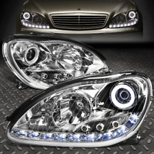 [LED DRL]FOR 2000-2006 MERCEDES S-CLASS W220 CHROME HOUSING PROJECTOR HEADLIGHT
