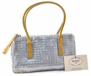Authentic PRADA Sequins PAILLETTES META Enamel Hand Bag Silver A6305