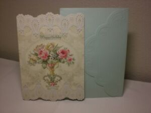 Carol's Rose Garden -  Birthday card - A Beautiful vase of flowers on the front