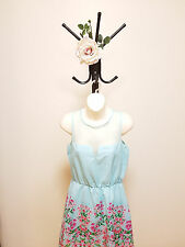 ✿♡ Womens Dress Size 10 (Sweet Floral Blue Pink Sheer Spring) ♡✿