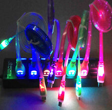 1PC 1M Light Up LED Micro USB Data Sync Charger Cable Cord Fr Samsung Android jk