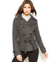 Maralyn & Me Women Charcoal Belted Double-Breasted Pea Coat Size M L