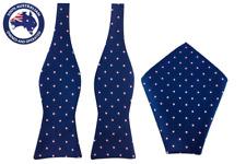 Men's Navy Blue Pink Polka Dot Bow tie Pocket Square Wedding Bow Ties Groomsmen