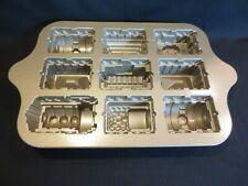 Nordic Ware 5 Cup  9 Slots Train Railroad Cars Birthday Party Cake Pan EUC