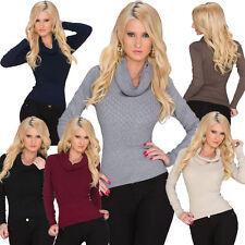 Langarm Damen-Pullover & -Strickware mit Wasserfall-Ausschnitt ohne Muster