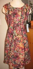 NWT LONDON TIMES PETITES abstract multi color dress piping detail 10p