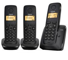 Teléfonos fijos inalámbricos negros Siemens de identificador de llamadas