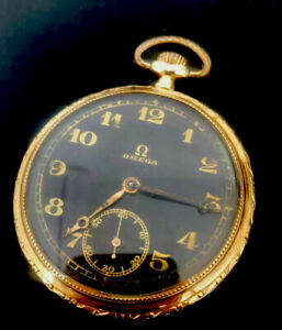 OMEGA POCKET WATCH BLACK DIAL ANTIQUE 1900's 14k YELLOW GOLD  OPEN FACE -Repair
