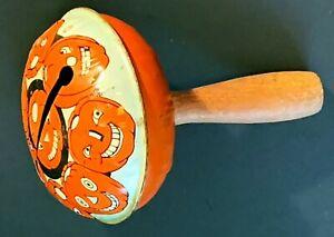 Antique COHN Halloween Jack O' Lantern Wooden Handled Noisemaker Rattle