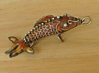 Vintage FISH Chinese Cloisonne Enamel Articulated Sterling Silver Charm Pendant