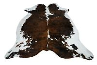 PREMIUM KUHFELL TRICOLOR STIERFELL 215 x 180 cm RINDERFELL TEPPICH COWHIDE RUG