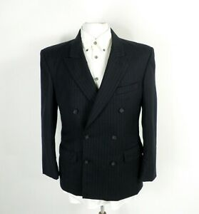 1970s Navy Pin Stripe Wool Double Breasted Jacket by St Michael Size M 38 Chest