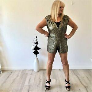 Boohoo Glitter Playsuit, NWT, Size 14