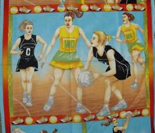 Quilting Patchwork Sewing Fabric NETBALL ON COURT Material Cotton Panel 60x11...