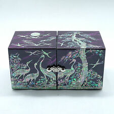 Purple glossy Jewelry box Mother of pearl inlay cranes under the pine tree