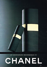PUBLICITE ADVERTISING 045  1982  CHANEL   vaporisateurs rechargeables N°5