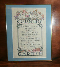 """Country Garden Cross Stitch Finished Matted & Framed 14"""" x 18"""" Ducks Flowers"""