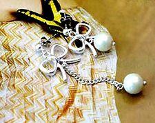 Color plata arco y colgante perla pendientes, Super lindo