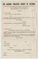 Stamp Masonic Philatelic Society of Victoria unused subscription form, uncommon