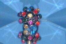SIZE 8.75 MULTI-COLORED CZECH CRYSTALS BLINGY COCKTAIL RING! AWESOME R044